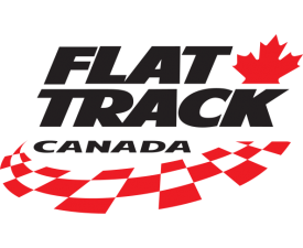 Flat Track Canada text with red and white checkered flag and maple leaf